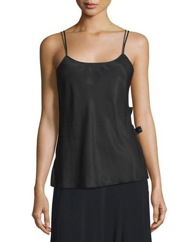 Back-Wrap Satin Slip Top, Black