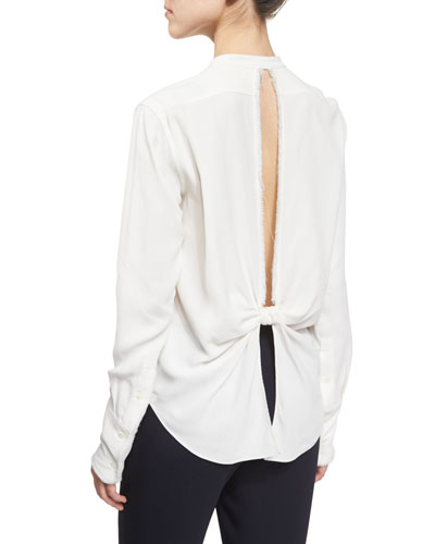 Back-Knot Frayed Crepe Top, White