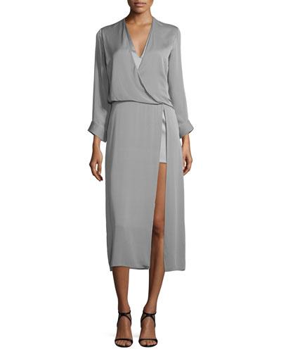 Long-Sleeve Draped Midi Dress, Gray