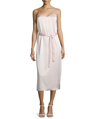 Belted Satin Camisole Slip Dress, Light Pink