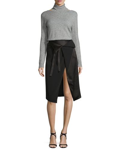 Long-Sleeve Mock-Neck Sweater w/ Cutouts, Heather Gray