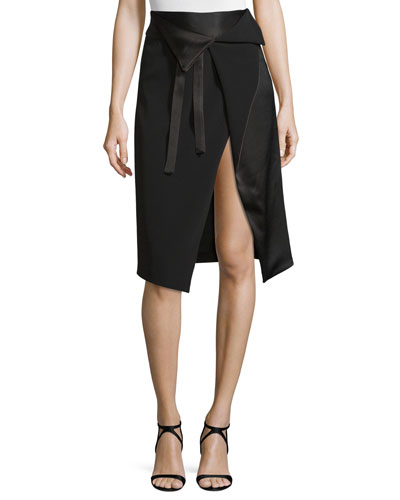 Draped Faux-Wrap Skirt w/ Cutaway Hem, Black