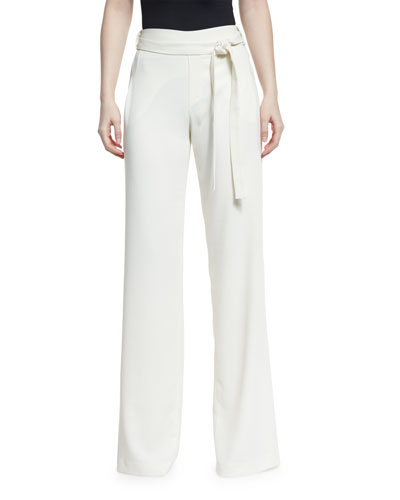 High-Waist Flowy Pants W/ Self-Belt, Chalk