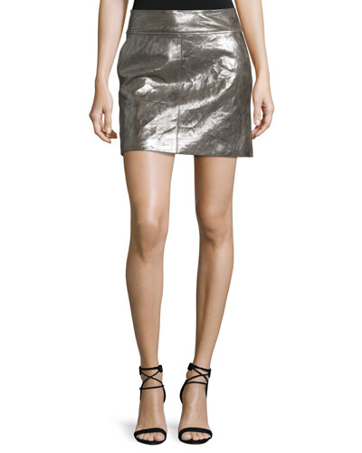Metallic Leather Mini Skirt