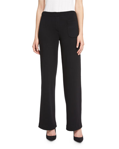 Wool Wide-Leg Pants, Black