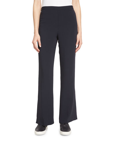 Stretch Crepe Flare Pants, Navy