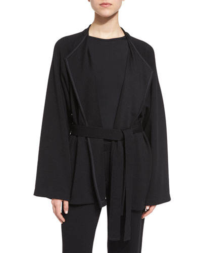 Belted Wool Felt Jacket, Black