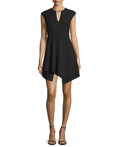 Cap-Sleeve Handkerchief-Hem Mini Dress, Black