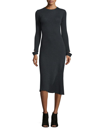 Detached-Cuff Knit Midi Dress, Heather Gray