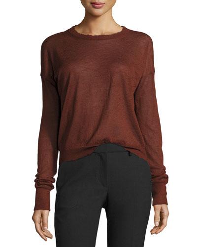 Distressed Cashmere Pullover Sweater, Pomegranate