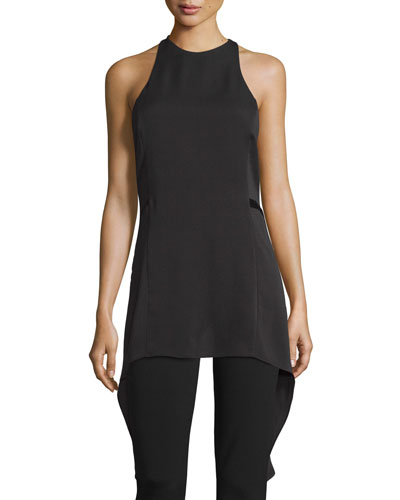 Sleeveless High-Neck Top w/ Draped Cutout Back, Black