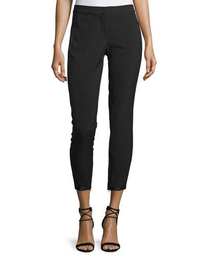 Tapered Slim-Leg Ankle Pants w/ Ribbon Tie Detail, Black