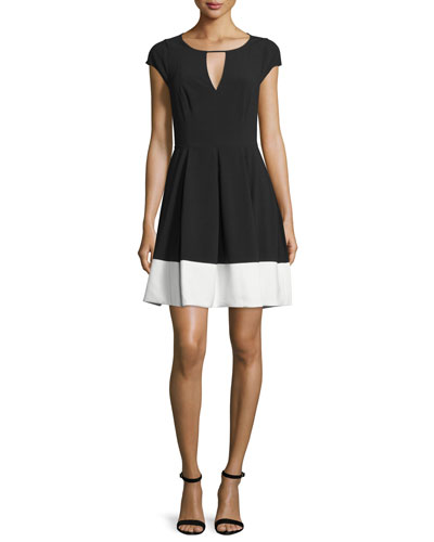 Cap-Sleeve Colorblock Dress, Black/Eggshell