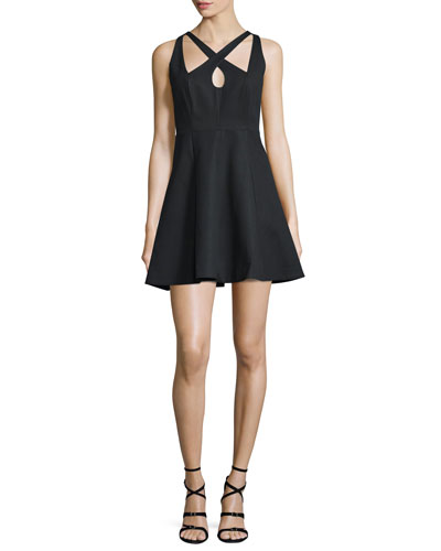 Crisscross-Front Fit-&-Flare Dress, Black