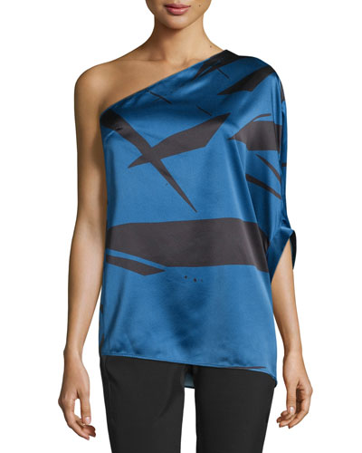 One-Shoulder Flowy Asymmetric Top, Ultramarine Abstract
