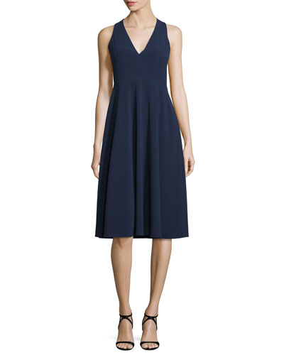 V-Neck Fit-&-Flare Midi Dress, Midnight