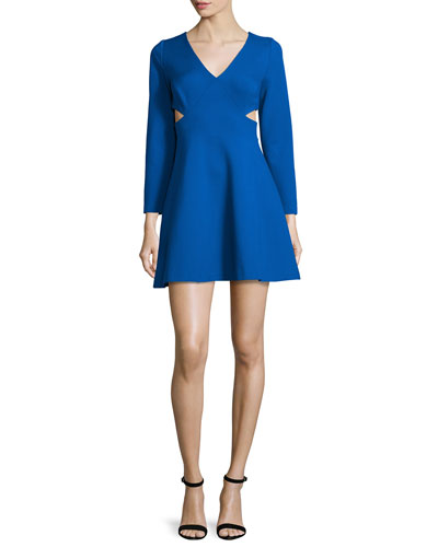 Bracelet-Sleeve Party Dress W/Cutouts, Bright Cobalt