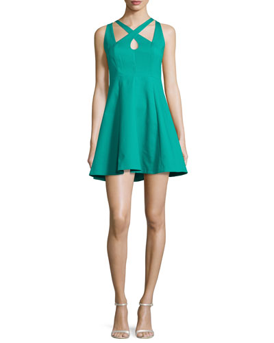 Crisscross-Front Fit-&-Flare Dress, Clover