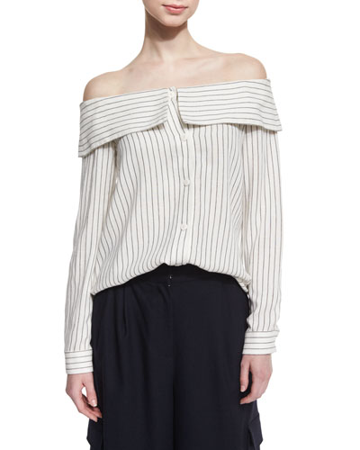 Frederic Off-the-Shoulder Striped Top, Ivory/Black