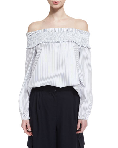 Samuel Striped Off-the-Shoulder Poplin Top, White/Blue