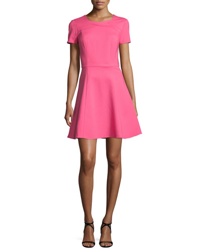 Short-Sleeve Fit-&-Flare Dress, Hot Pink