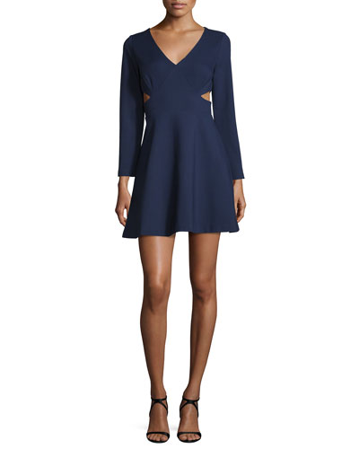 Long-Sleeve V-Neck Dress W/Cutouts, Midnight
