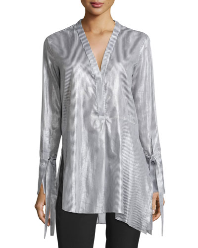 Long-Sleeve V-Neck Striped Asymmetric Tunic, Gray/White Stripe