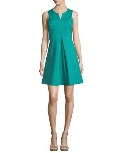 Sleeveless Split-Neck Party Dress, Clover