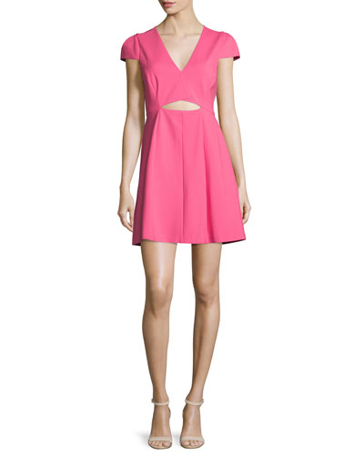 Cap-Sleeve Cutout Dress, Hot Pink