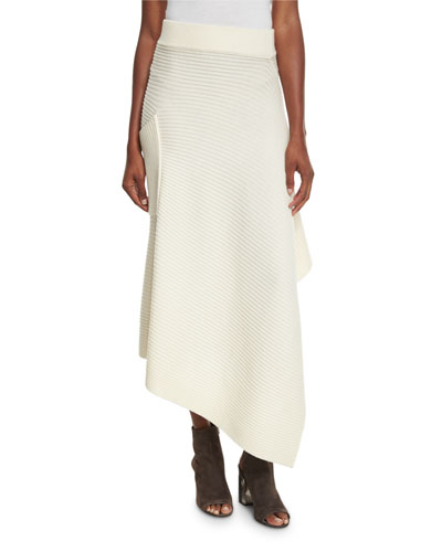 Ribbed Merino Asymmetric Wrap Skirt