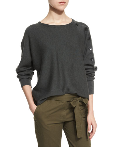 Button-Trim Wool Pullover Sweater, Loden Green/Gray