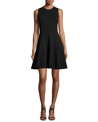 Ponte Sleeveless Fit-&-Flare Dress, Black