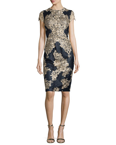 Short-Sleeve Embroidered Cocktail Dress, Navy/Gold