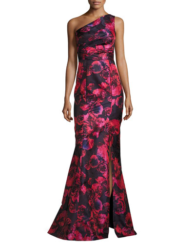 One-Shoulder Floral Jacquard Mermaid Gown, Pink/Navy