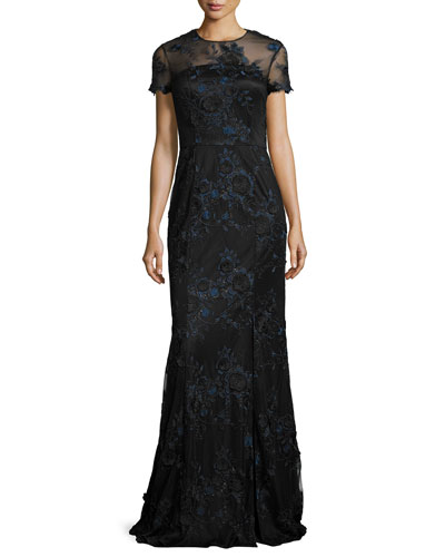 Short-Sleeve Floral Embroidered Illusion Gown, Navy/Black