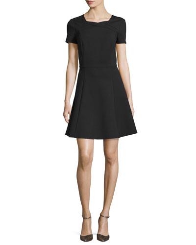 Short-Sleeve Fit-&-Flare Dress, Black