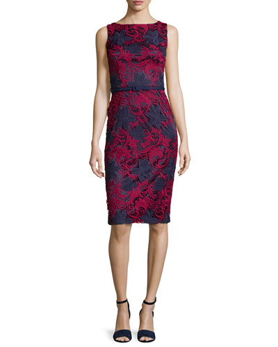 Sleeveless Floral Lace Sheath Dress, Rose/Navy