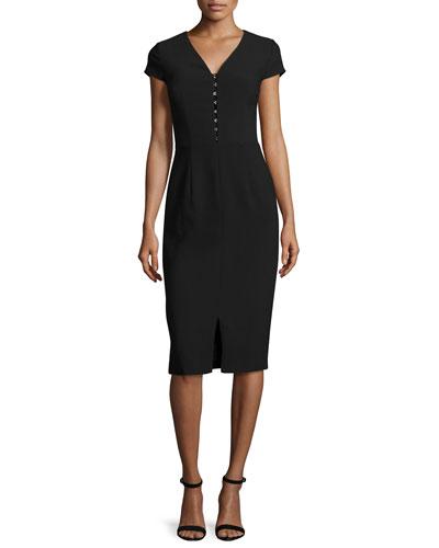 Short-Sleeve Crepe Sheath Dress, Black