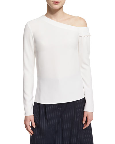 Long-Sleeve Crepe One-Shoulder Top, Ivory