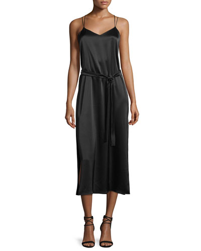 Sleeveless Satin Cami Slip Dress, Black