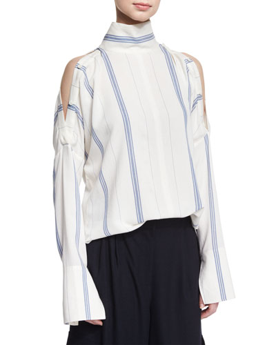 Warren Striped Cold-Shoulder Blouse, Ivory/Blue