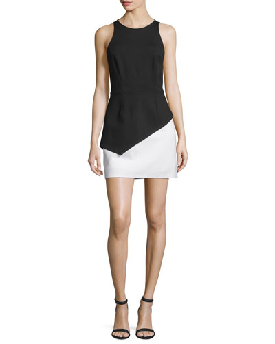 Sleeveless Colorblock Peplum Dress, Black/Eggshell