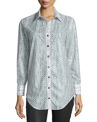 Frida Arrowhead Button-Front Blouse, Gray/White