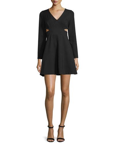 Long-Sleeve V-Neck Dress W/Cutouts, Black