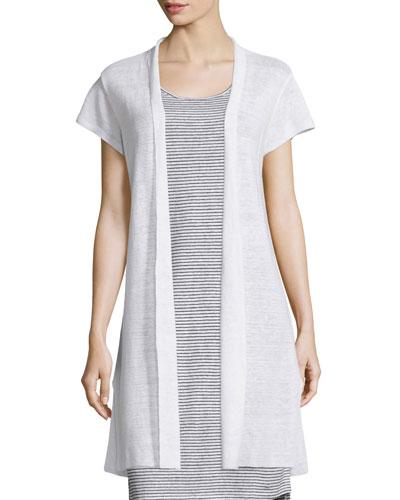 Cap-Sleeve Organic Linen Cardigan, White