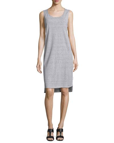 Skinny-Striped Organic Linen Tank Dress, White/Black