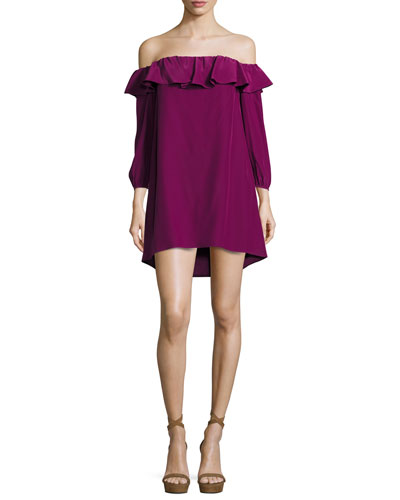 Joanna Off-the-Shoulder Crepe Dress
