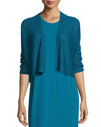 3/4-Sleeve Organic Linen Kimono Cardigan, Plus Size