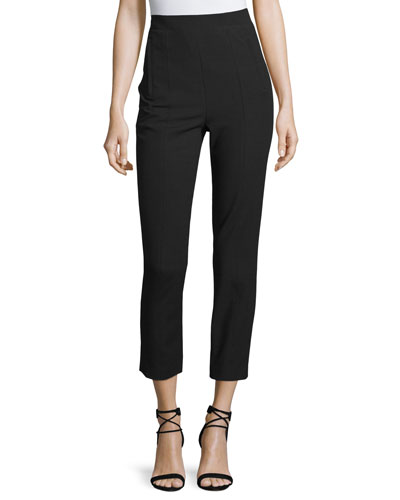 High-Rise Paneled Ankle Pants, Black