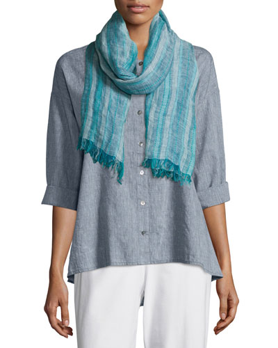 Catalina Striped Artisanal Scarf, Myrtle